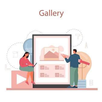 Usługa lub platforma online dla grafików lub cyfrowych ilustratorów. cyfrowy rysunek z narzędziami i sprzętem elektronicznym. galeria online.