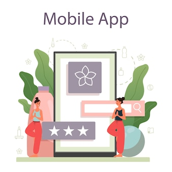 Usługa lub platforma online dla instruktorów jogi. asana lub ćwiczenia dla mężczyzn i kobiet. zdrowie fizyczne i psychiczne. aplikacja mobilna osobistego instruktora.