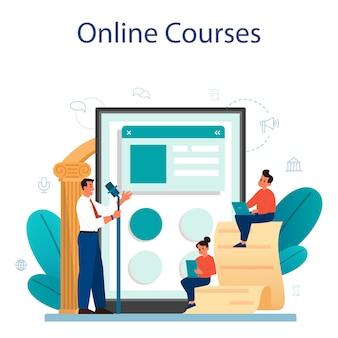 Usługa lub platforma online dla lekcji retoryki lub elokucja