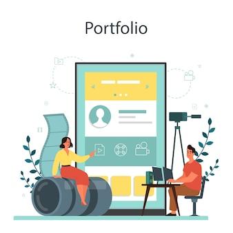 Usługa lub platforma online dla projektantów filmów lub filmów. edytor animacji, produkcja kreskówek. portfolii online.