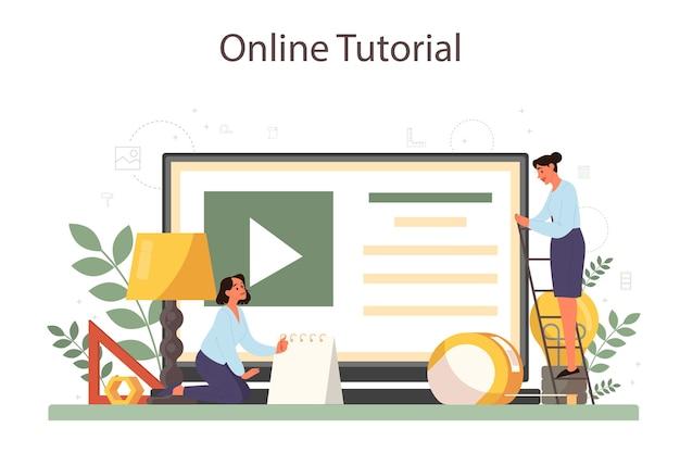 Usługa lub platforma online dla projektantów przemysłowych. artysta tworzący nowoczesny obiekt otoczenia. samouczek wideo online.