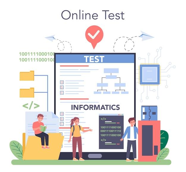 Usługa lub platforma online do edukacji informatycznej. student pisze oprogramowanie i tworzy kod na komputer. technologia cyfrowa dla strony internetowej. test online. ilustracji wektorowych