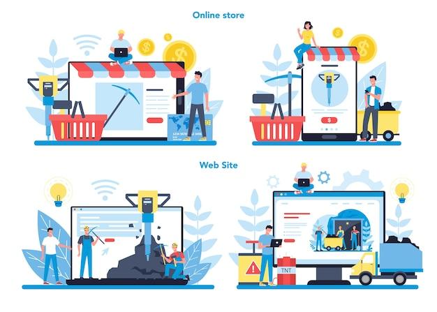 Usługa lub platforma online do wydobywania węgla lub minerałów na innym zestawie koncepcji urządzenia. pracownik w mundurze i hełmie z kilofem, młotem pneumatycznym i taczką pracujący pod ziemią.