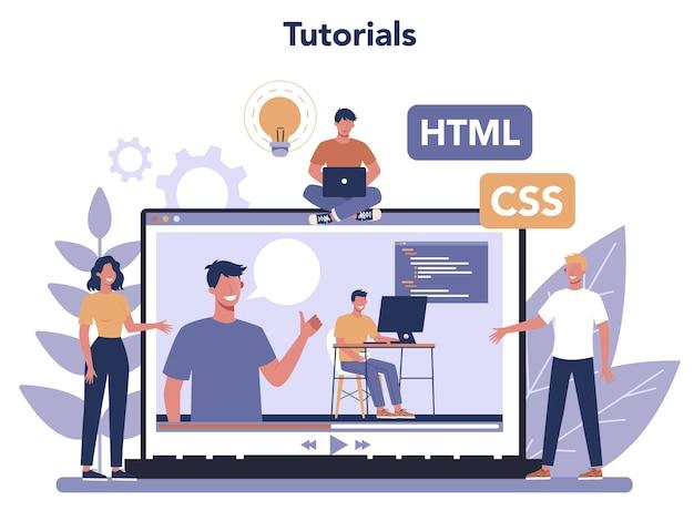 Usługa lub platforma online koncepcja maszyny do pisania