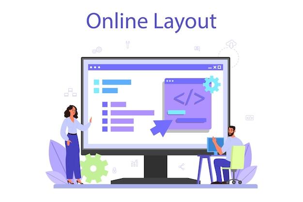 Usługa Lub Platforma Rozwoju Zaplecza Online. Premium Wektorów