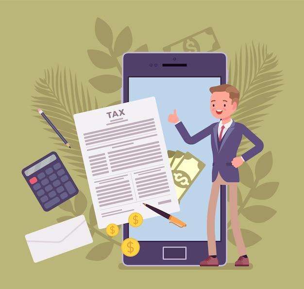 Usługa mobilnego rozliczania podatków dla biznesmena
