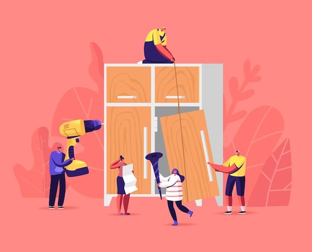 Usługa montażu mebli. małe postacie stolarskie i stolarskie. ludzie z przyrządami montującymi szafę domową z wiertarką elektryczną, gwoździami i narzędziami ręcznymi. ilustracja kreskówka wektor
