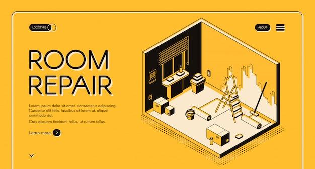Usługa naprawy i dekoracji mieszkania pokój izometryczny wektor web banner.
