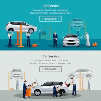 Usługa naprawy samochodu, poziomy baner, różni pracownicy w trakcie naprawy samochodu, serwis opon, diagnostyka, lakierowanie pojazdu, części zamienne do wymiany szyb. ilustracja
