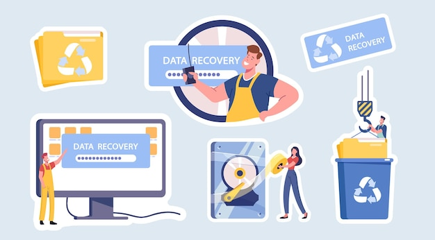Usługa odzyskiwania danych izolowane naklejki, tworzenie kopii zapasowych i ochrona, naprawa sprzętu. postacie w mundurze pracownika naprawiają uszkodzony komputer, folder plików, dźwig i kosz na śmieci. ilustracja wektorowa kreskówka ludzie