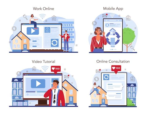 Usługa online agencji nieruchomości lub zestaw platform. wykwalifikowana obsługa pośrednika. wymiana domu i mieszkania. praca online, konsultacje, samouczek wideo, aplikacja mobilna. płaska ilustracja wektorowa