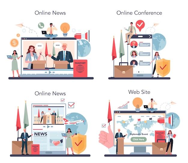 Usługa online diplomat lub zestaw platform.