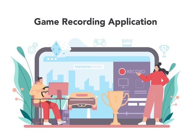 Usługa online dla graczy lub osoba na platformie gra na komputerowej grze wideo