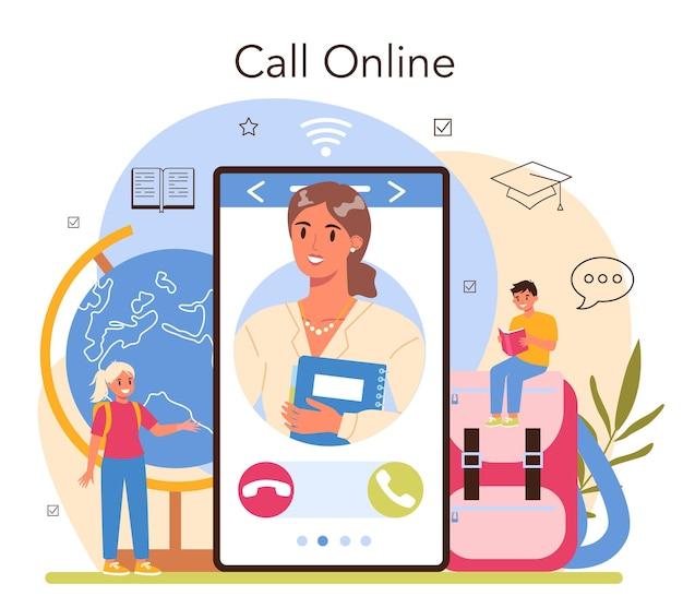 Usługa online dla nauczycieli lub profesor platformy udzielający lekcji