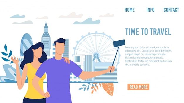 Usługa online dla turystów płaska strona internetowa wektor