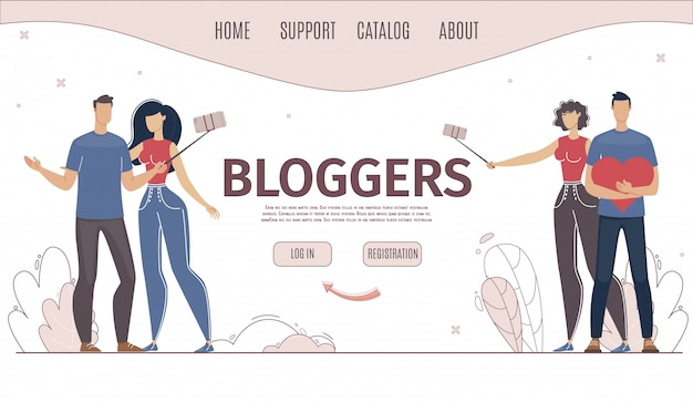 Usługa online do blogowania płaska strona internetowa