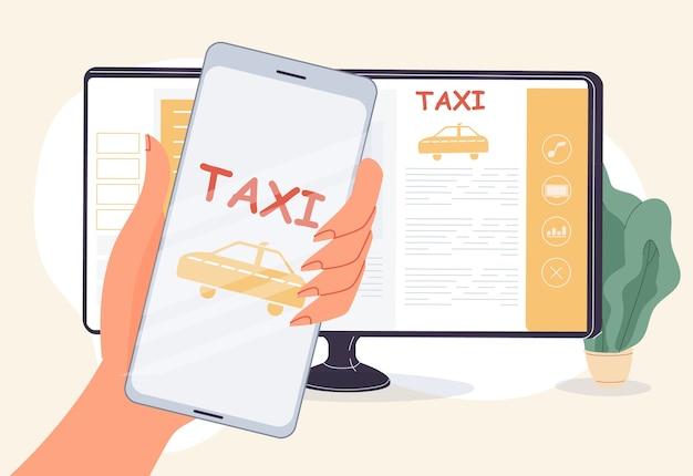 Usługa online do zamawiania taksówek. interfejs aplikacji mobilnej do rezerwacji kabiny. aplikacja carsharing. kobieta ręka trzyma smartfon w pobliżu ekranu monitora komputera. wybór modelu automatycznego, nawigacja po mapie samochodowej