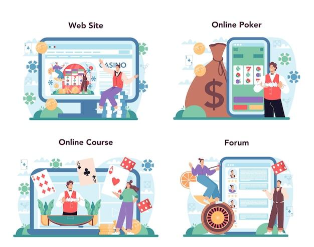 Usługa online krupier lub platforma ustawia osobę w mundurze z tyłu