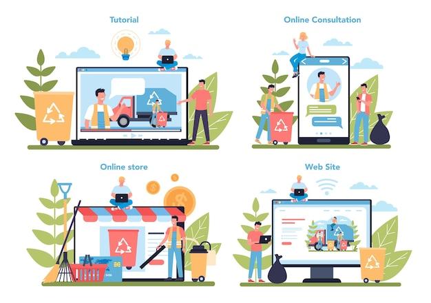 Usługa online lub platforma firmy sprzątającej lub woźnego na innym zestawie koncepcji urządzenia. dozorcy sprzątają ulice i sortują śmieci.