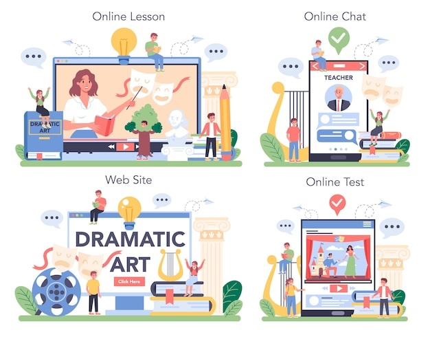 Usługa online lub platforma teatralna zestaw ilustracji w stylu kreskówki