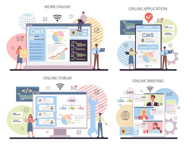 Usługa online lub zestaw platform cms
