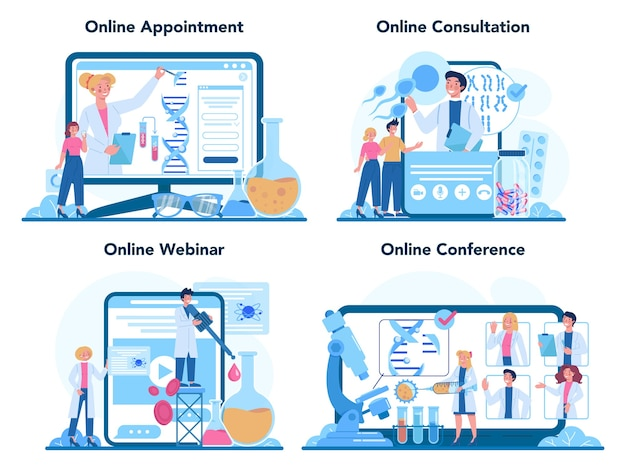 Usługa online lub zestaw platform dla genetyków. nauka, technologia i innowacje.