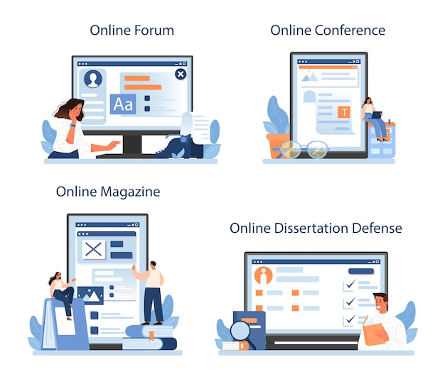 Usługa online lub zestaw platform dla krytyków literackich. płaska ilustracja wektorowa