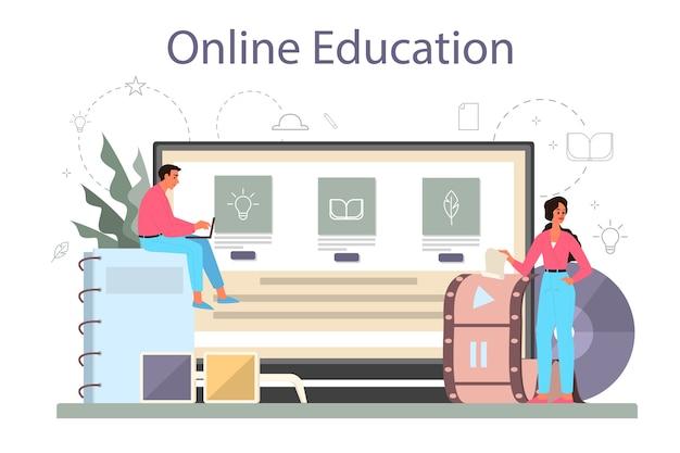 Usługa online lub zestaw platform dla scenarzystów. osoba tworzy scenariusz do filmu. edukacja online. ilustracja na białym tle wektor