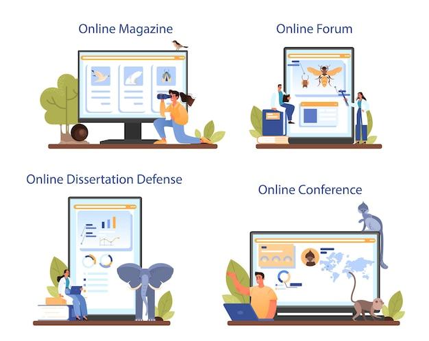 Usługa online lub zestaw platform dla zoologów. naukowiec badający i badający faunę. badania i ochrona zwierząt. forum internetowe, czasopismo, konferencja, obrona rozprawy. ilustracja wektorowa na białym tle