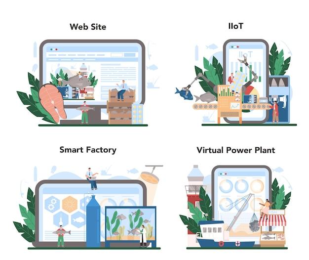 Usługa online lub zestaw platform do połowów przemysłowych.