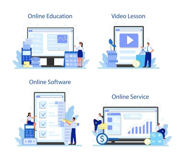 Usługa online lub zestaw platform księgowych. profesjonalny kierownik biura księgowego. obliczanie podatków i analiza finansowa. edukacja online, oprogramowanie, lekcja wideo.
