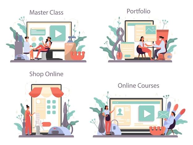 Usługa Online Lub Zestaw Platform Manikiurzystki. Premium Wektorów