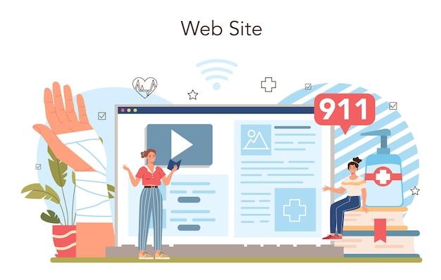 Usługa online na temat zdrowego stylu życia lub idea platformy bezpieczeństwa życia