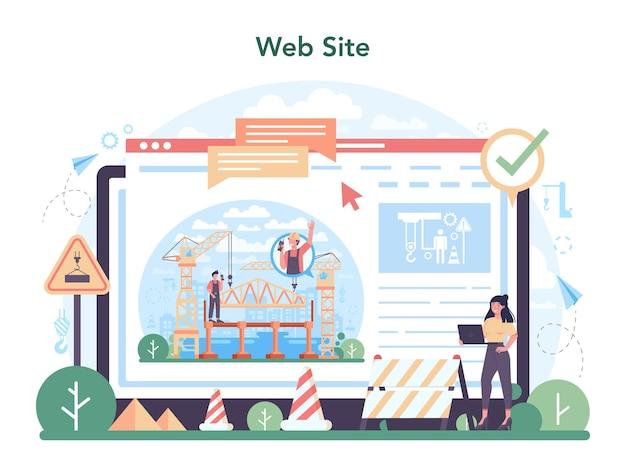 Usługa online operatora dźwigu lub platforma przemysłowa konstruktora