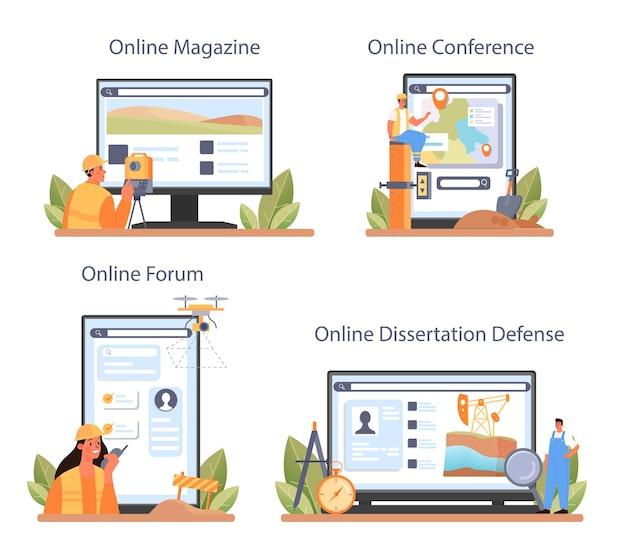 Usługa online surveyor lub zestaw platform. geodezja, geodezja.