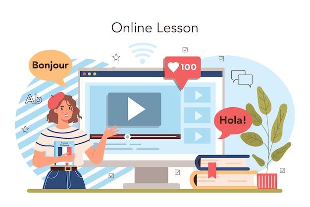 Usługa online szkoły językowej lub nauczanie profesora platformy