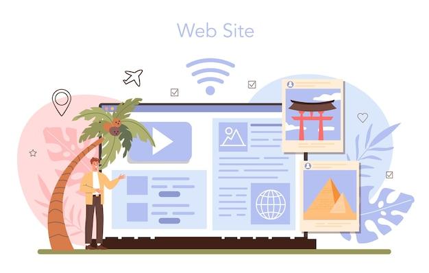 Usługa online wycieczek wakacyjnych lub turystyka platformowa na całym świecie