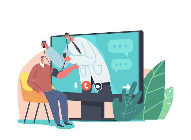 Usługa opieki zdrowotnej online. lekarz charakter w białym fartuchu na ekranie pc pomiaru ciśnienia krwi pacjenta z tonometrem. zaawansowane technologie opieki zdrowotnej, sprawdzanie. ilustracja wektorowa kreskówka ludzie