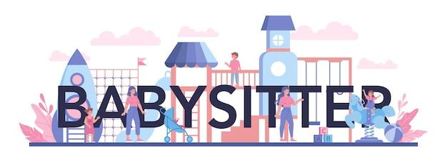 Usługa opiekunki do dzieci lub nagłówek typograficzny agencji