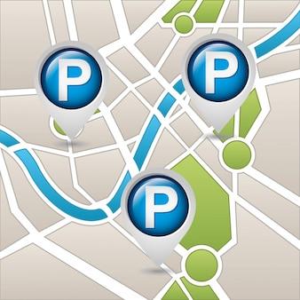 Usługa parkowania, mapa
