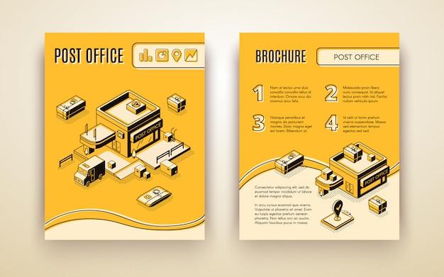 Usługa pocztowa lub kurierska, broszura reklamowa izometryczna wektor biznesu firmy logistycznej