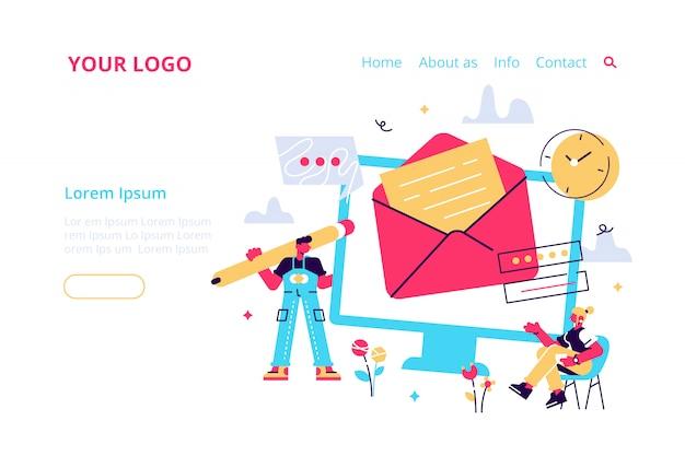 Usługa pocztowa, wiadomość e-mail, wysyłanie powiadomień pocztą, nowy sms przychodzący, koperta, sieć społecznościowa, czat, spam. ilustracja do baneru internetowego, infografiki, strony mobilnej. do strony docelowej