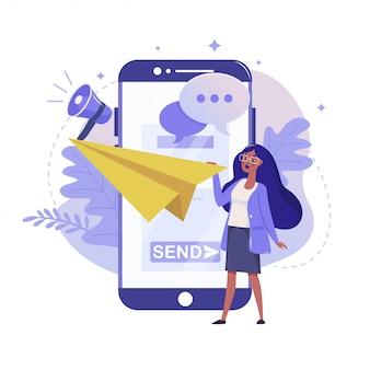 Usługa poczty i płaska ilustracja powiadomień mobilnych. kolorystyka czatu i komunikacji online. smartfon i kobieta rzucają papierowym samolotem metafora kolorowe, na białym tle.