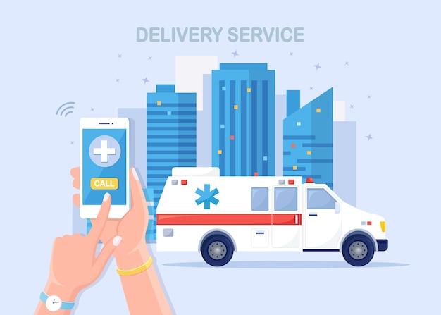 Usługa połączeń alarmowych. karetka pogotowia i telefonicznie wezwać lekarza.