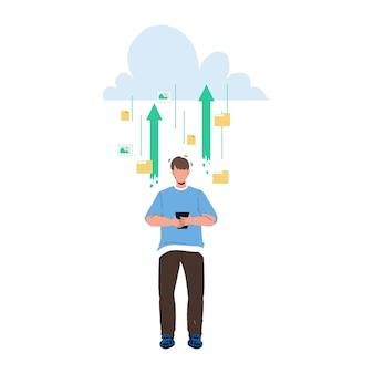 Usługa przechowywania w chmurze dla wektora zapisywania informacji. technologia mobilna do przechowywania w chmurze do przechowywania plików multimedialnych ze zdjęciami i wideo, dokumentów elektronicznych i wiadomości. charakter ilustracja kreskówka płaskie