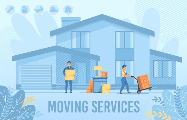 Usługa przeprowadzki do domu dla nowego płaskiego sztandaru osadnika