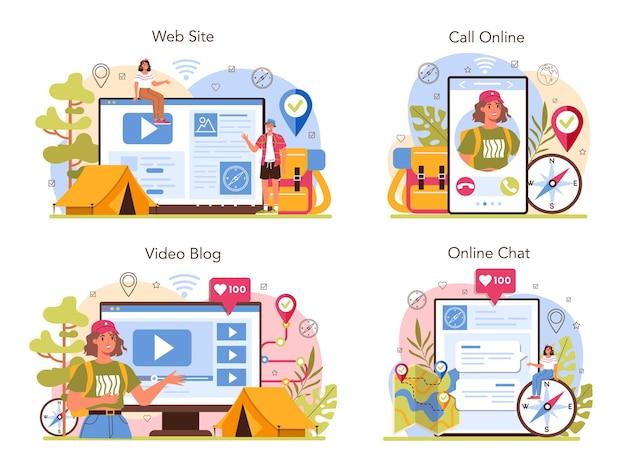 Usługa przewodnika ekspedycyjnego online lub zestaw platform. turyści wędrujący