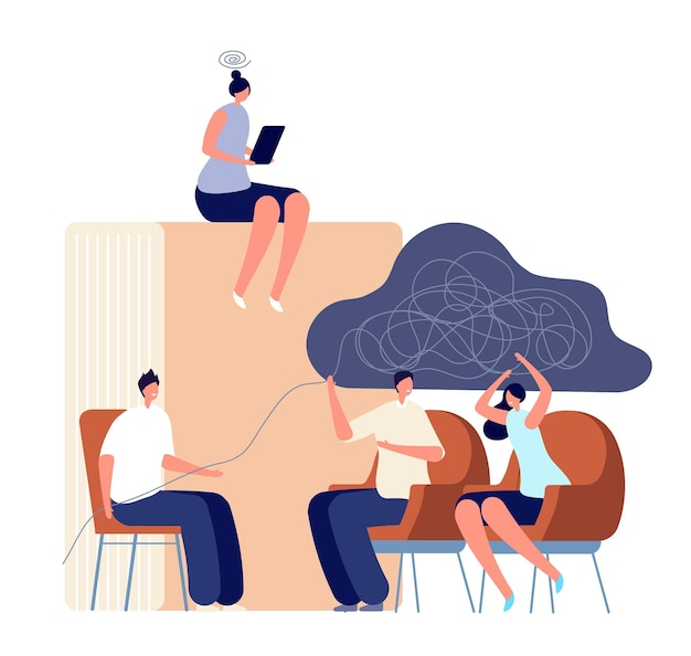 Usługa psychologa. terapeuta doradztwo para rodzin, sesja psychologiczna. psychoterapia dorosłych, autoterapia z koncepcja wektor książki. psychoterapia przez terapeutę, ilustracyjne wsparcie psychiczne