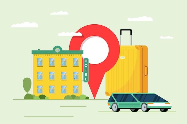 Usługa rezerwacji hoteli i udostępniania samochodów dla koncepcji turystyki wakacyjnej. rezerwacja apartamentu i transportu. budynek motelu z walizką bagażową i ilustracją wektorową pinezki lokalizacji