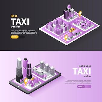 Usługa rezerwacji online taksówek miejskich, poziome banery izometryczne
